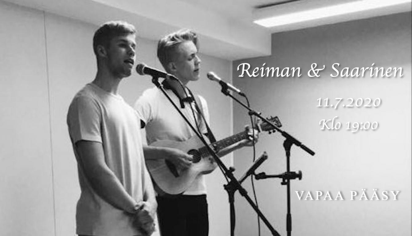 Reiman & Saarinen live ainutlaatuisella Rikalanmäellä lauantaina 11.7.2020 klo 19. Keikalle on vapaa pääsy.