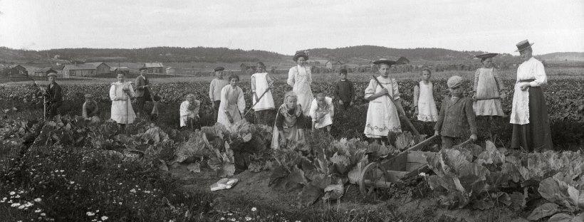 Meritalon koulun oppilaat kasvitarhassa opettajansa Hanna Kallion kanssa vuonna 1910.