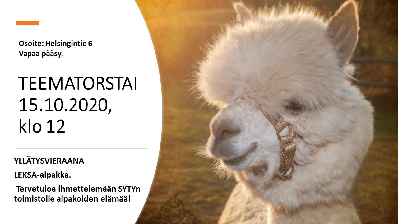 Alpakka Leksa, mainos tekstin vieressä