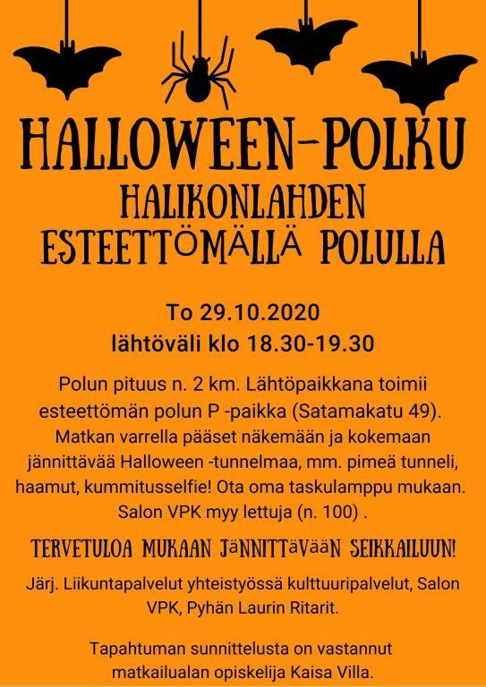 Halloween polku Halikonlahden esteettömällä polulla mainos