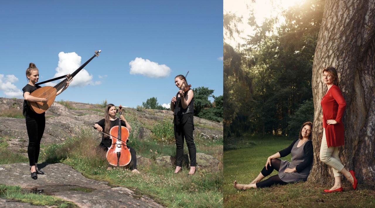 viisi ihmistä kalliolla ja puun juurella, aurinkoinen päivä