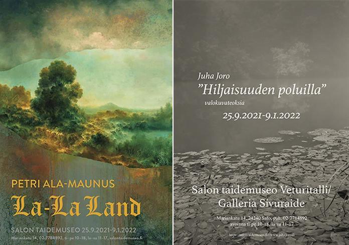 Kuvassa näyttelyiden julisteet